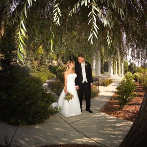 Bride and Groom in Memory Grove under trees