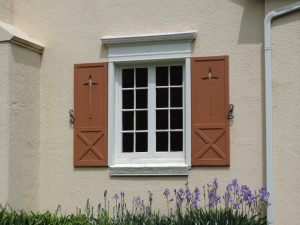 Irises and historic shutters