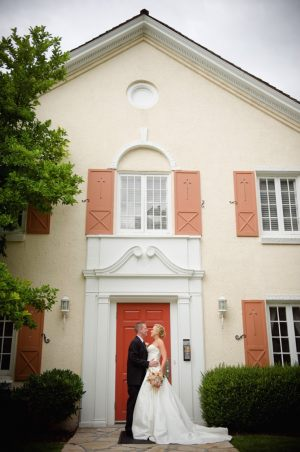 Bride and groom front door ~ Photo by Dezember Photography