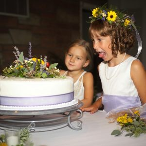Flower girl and cake