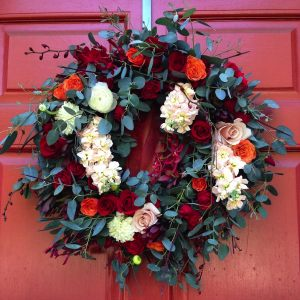 Front door wreath by La Fleur Designs